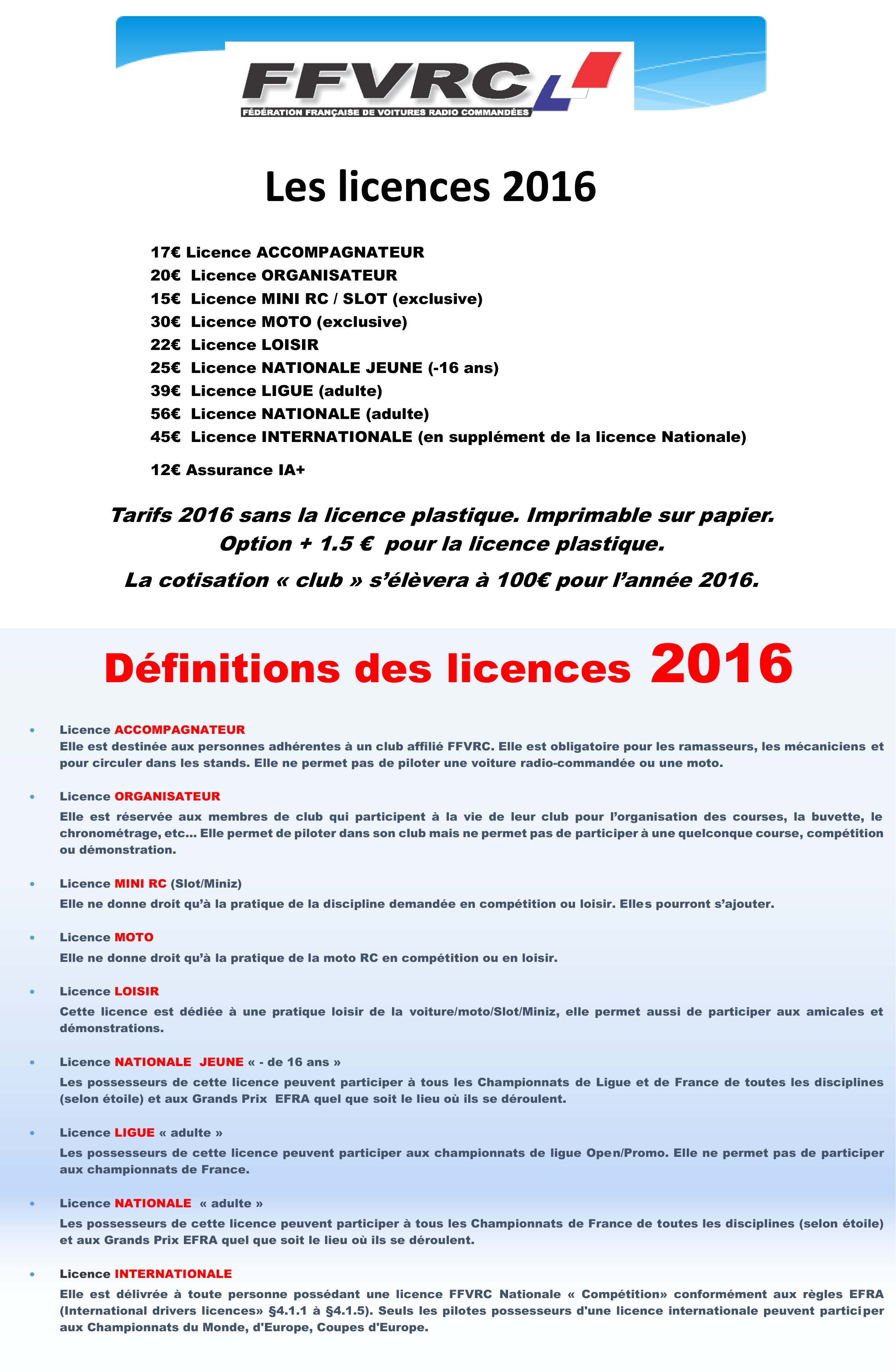 Tarifs licences 2016